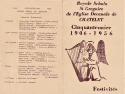Royale schola st gregoire chatelet jubile 1956 recto